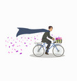 flat weekend bike ride in vintage clothes vector image