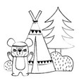 grunge bear animal with camp next to bush and pine vector image vector image