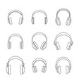 headphones music speakers icons set outline style vector image vector image