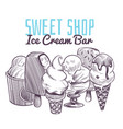 ice cream sketch background hand drawn frozen vector image