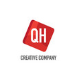 initial letter qh logo template design vector image vector image