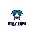 logo stay safe mascot cartoon style vector image
