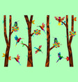 low poly colorful hummingbird with tree vector image