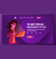 management system landing page store woma vector image