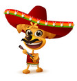 mexican dog in sombrero plays guitar vector image vector image