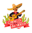 mexico guitar player at cinco de mayo festival vector image