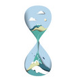 mountain with blue sky in sandglass vector image vector image