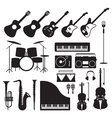 Music Instruments Silhouette Objects Set vector image vector image