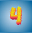 number 4 from fur alphabet vector image
