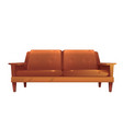 old leather brown sofa isolated vintage style vector image