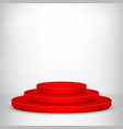 round stage podium stage backdrop festive red vector image vector image
