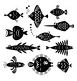 set black and white stylized fishes vector image vector image
