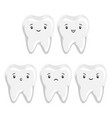 set cute tooth with different facial vector image vector image