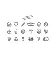 set of fast food icons in thin line style vector image