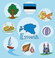 set of national profile of the estonia vector image vector image