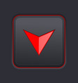 square down button with red arrow on black vector image vector image