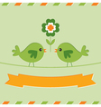 St Patricks Day card with cute birds vector image vector image