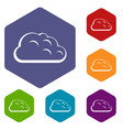 storm cloud icons set hexagon vector image vector image