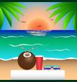 sunset sea coconut palmtrees sunglasses beach vector image vector image
