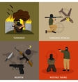 Terrorism Icon Flat Set vector image