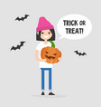trick or treat halloween young female character vector image vector image