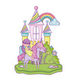 unicorn and princess in the castle with rainbow vector image vector image