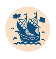 vintage sailboat floating on waves vector image vector image