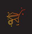 wheelbarow icon design vector image