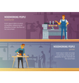 Woodworking Carpentry Service 2 Flat Banners vector image