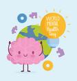 world mental health day cartoon brain planet vector image vector image