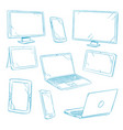 doodle digital devices tablet pc laptop cell vector image
