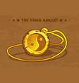 cartoon golden circle old amulet yin yang vector image