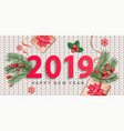 2019 new year greeting card on knitted background vector image vector image