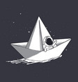 astronaut on paper boat vector image vector image