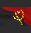 background republic angola flag in folds vector image vector image