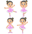 Cartoon little ballet dancer collection set vector image