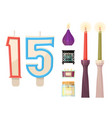 celebration glowing religion candles birthday vector image