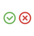 check mark green and red line icons vector image vector image