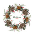christmas round wreath with cones and pine vector image