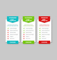 comparison pricing list price plan table product vector image