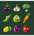 Funny Vegetable and Fruit Set vector image vector image