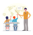 geography student and teacher at school child vector image vector image