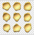 golden seal elite gold wax seals premium stamps vector image