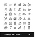 gym sign black thin line icon set vector image vector image