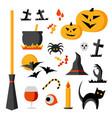 halloween items set vector image vector image