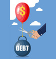 hand with scissors cutting debt balloon string vector image vector image