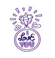 i love you lettering doodle quote with ring vector image vector image