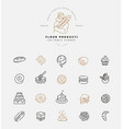 icon and logo for natural flour product and vector image vector image