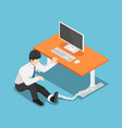 isometric businessman chained to the desk vector image vector image