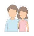 light color caricature faceless half body couple vector image vector image